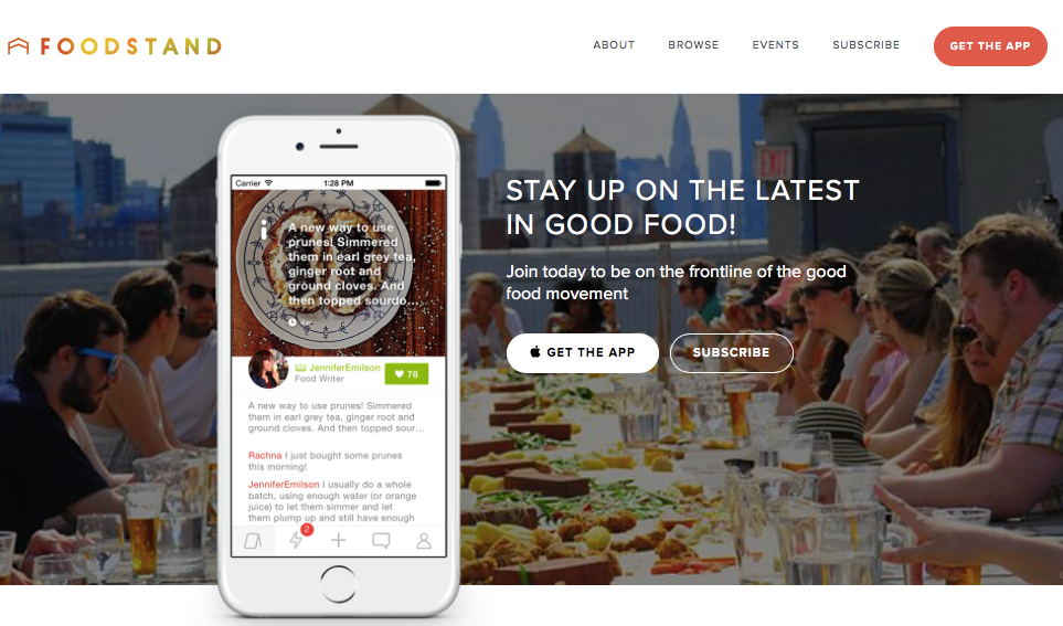 the Foodstand iOS app